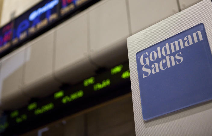 A Goldman Sachs logo is displayed on the floor of the New York Stock Exchange in New York City, on Wednesday, August 11, 2010. The Dow lost over 265.42 closing at 10378.83 points on poor economic reports. (Photo by Ramin Talaie/Corbis via Getty Images)