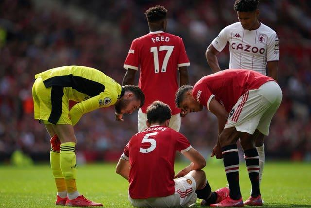 Harry Maguire was injured during Manchester United's 1-0 loss to Aston Villa.