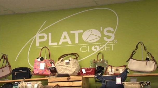 PHOTO: A sign displays the name of Plato's Closet, a thrift and consignment store in Valparaiso, Indiana, where a store employee discovered $7,000 in a coat and then returned it to a customer, Oct. 24, 2019. (WLS)