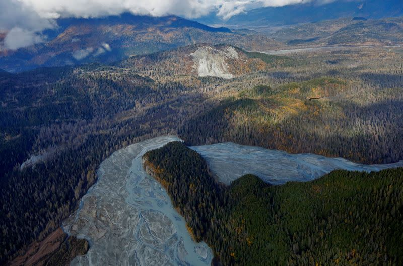FILE PHOTO: The Tsirku River winds through forest as seen in an aerial view near Haines Alaska