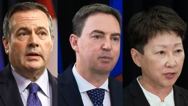 Premier Jason Kenney, Health Minister Jason Copping and AHS president Dr. Verna Yiu will deliver an update on Alberta's response to the devastating fourth wave of the COVID-19 pandemic. (Jason Franson/The Canadian Press, CBC, Chris Schwarz/Government of Alberta - image credit)