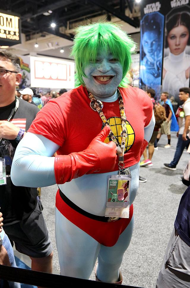 <p>Cosplayer dressed as Captain Planet at Comic-Con International on July 21, 2018, in San Diego. (Photo: Angela Kim/Yahoo Entertainment) </p>