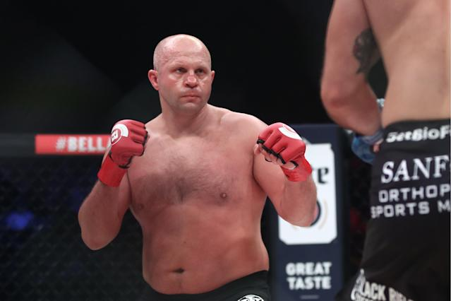 Fedor Emelianenko in the Bellator Heavyweight World Grand Prix final bout against his American rival Ryan Bader at the Forum in Inglewood, California. (Getty Images)
