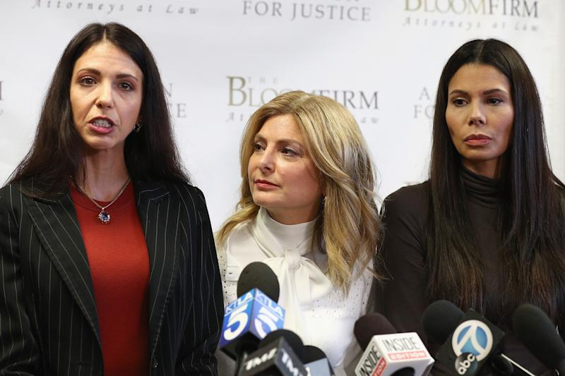 Attorney Lisa Bloom (C) with her clients Faviola Dadis (L) and Regina Simons, who are accusing actor Steven Seagal of sexual assault, on March 19, 2018 in Woodland Hills, California.