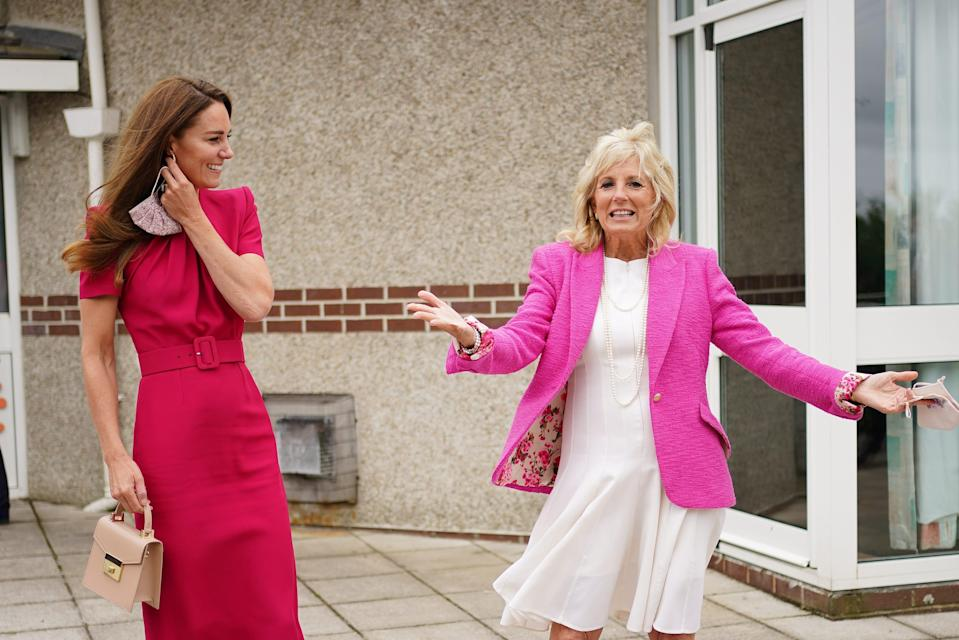Duchess Kate of Cambridge and first lady Jill Biden during a visit to Connor Downs Academy, during the G7 summit in Cornwall on June 11, 2021 in Hayle, west Cornwall, England.