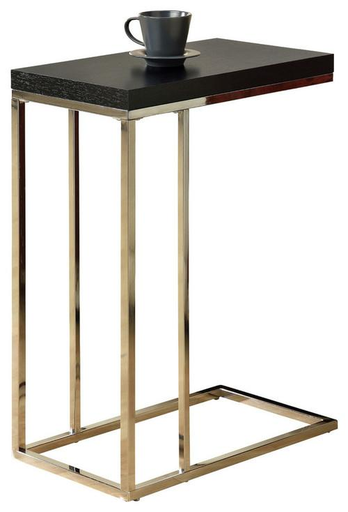 Accent Table - Cappuccino With Chrome Metal