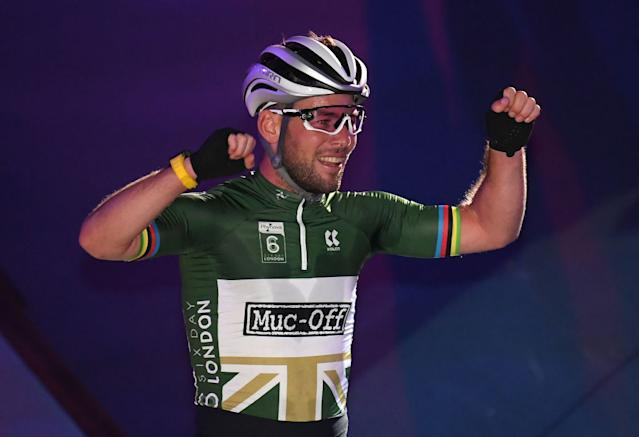Britain's Mark Cavendish celebrates winning the Team Elimination Race on day 3 of the 2019 Six Day London