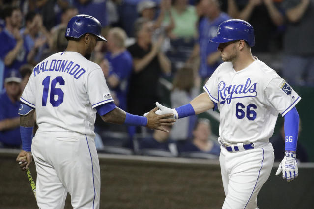 Kansas City Royals' Ryan O'Hearn (66) celebrates with Martin Maldonado (16) after hitting a solo home run during the seventh inning of a baseball game against the Detroit Tigers Tuesday, June 11, 2019, in Kansas City, Mo. (AP Photo/Charlie Riedel)