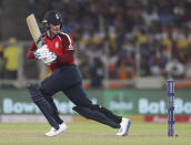England's Jason Roy bats during the first Twenty20 cricket match between India and England in Ahmedabad, India, Friday, March 12, 2021. (AP Photo/Aijaz Rahi)