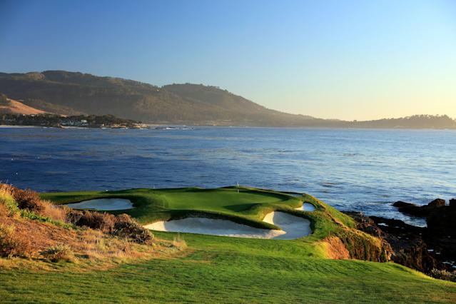<p>Land's End: No. 7, 109/106/98/94/90 yards</p> <p>Even shorter than the Postage Stamp, the seventh at Pebble Beach is the shortest hole in major championship golf, period. Depending upon the wind conditions, it can be a pitching wedge or a hybrid. When it was introduced in 1918 by designers Jack Neville and Douglas Grant, the downhill hole played to a massive green encircled by a sand bunker and flanked on three sides by Pacific surf. For the 1929 U.S. Amateur, Chandler Egan replaced the bunker with imitation sand dunes. The dunes were eventually dispersed by ocean winds. Sand pits now sit in their place. Over the last six decades, the once generous green has become an apostrophe, its present bunkers hinting at dimensions of the old putting surface.</p>