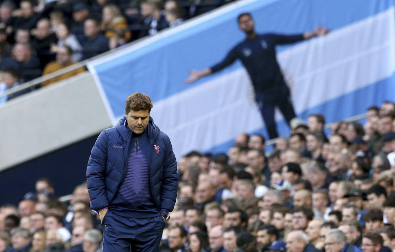 Tottenham Hotspur manager Mauricio Pochettino on the touchline during the match against Watford during their English Premier League soccer match at Tottenham Hotspur Stadium in London, Saturday Oct. 19, 2019. (Jonathan Brady/PA via AP)