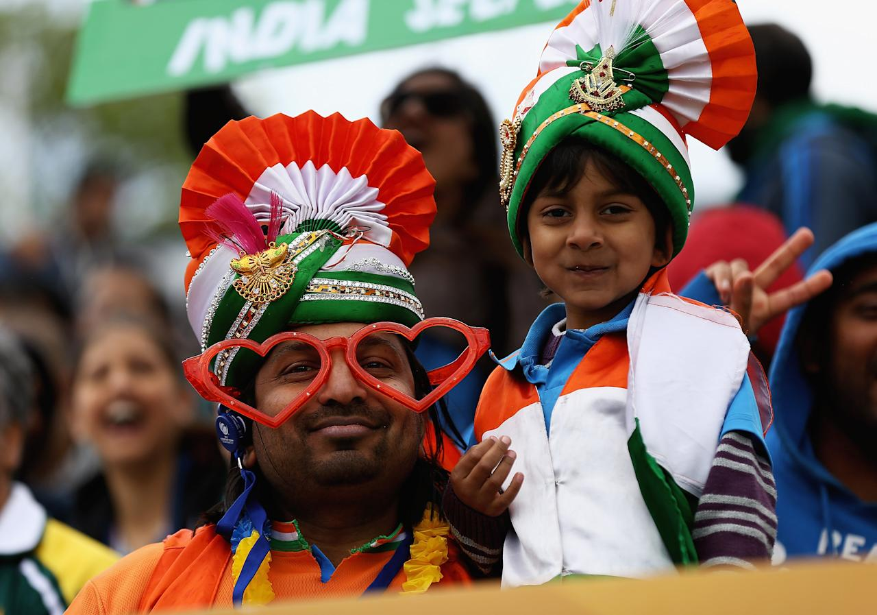 BIRMINGHAM, ENGLAND - JUNE 15:  Indian cricket fans look on during the ICC Champions Trophy Group A match between India and Pakistan at Edgbaston on June 15, 2013 in Birmingham, England.  (Photo by Matthew Lewis-ICC/ICC via Getty Images)