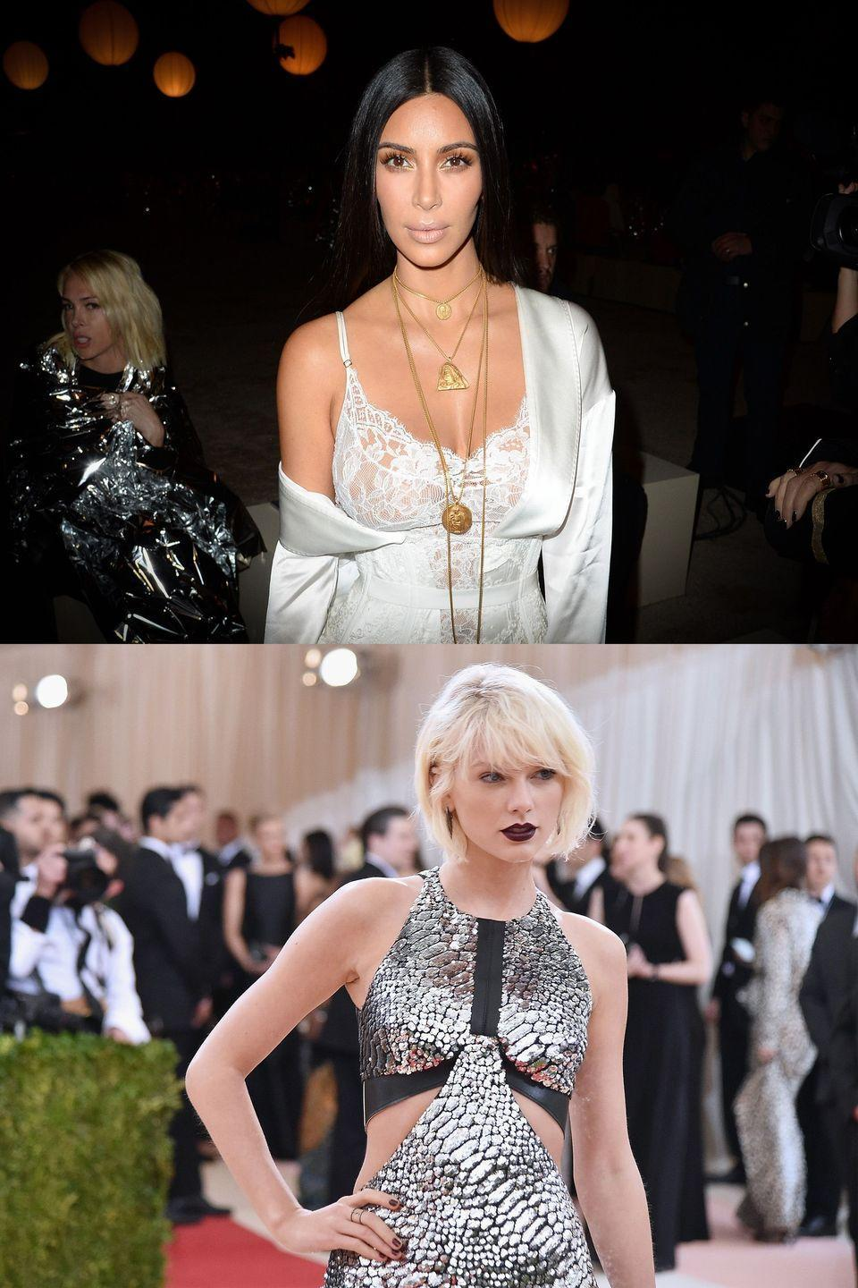 "<p>Seven years after Kanye West first crashed Swift's speech, he and his wife (The Notorious KKW) decided to reignite the feud, despite West having publicly reconciled with her at the VMAs in 2015. In February, West dropped ""Famous,"" which included the lines, ""I feel like me and Taylor might still have sex / Why? I made that bitch famous."" West said Swift had given him approval for the song, but she denied it. In the <a href=""http://www.gq.com/story/kim-kardashian-west-gq-cover-story"" rel=""nofollow noopener"" target=""_blank"" data-ylk=""slk:July issue of GQ"" class=""link rapid-noclick-resp"">July issue of <em>GQ</em></a>, Kardashian slammed Swift saying, ""She totally approved that … She wanted to all of a sudden act like she didn't."" Then the real bombshell came. After an episode of <em>Keeping Up With the Kardashians</em> focused on the incident, Kardashian <a href=""http://people.com/celebrity/a-timeline-of-the-complicated-relationship-between-taylor-swift-and-kim-kardashian-west/"" rel=""nofollow noopener"" target=""_blank"" data-ylk=""slk:took to Snapchat"" class=""link rapid-noclick-resp"">took to Snapchat</a> to post video proof of Swift and West discussing the song. Notably, the ""sex"" line was heard, but not ""that bitch."" Nevertheless, the internet sided with Kardashian, with the hashtag #KimExposedTaylorParty trending. Swift rested her case <a href=""https://www.instagram.com/p/BH_TCz4DeSj/"" rel=""nofollow noopener"" target=""_blank"" data-ylk=""slk:on Instagram"" class=""link rapid-noclick-resp"">on Instagram</a>, ending with the much-mocked line, ""I would very much like to be excluded from this narrative, one that I have never asked to be a part of, since 2009.""</p>"