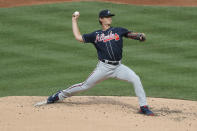 Atlanta Braves starting pitcher Mike Soroka throws during the second inning of the baseball game against the New York Mets at Citi Field, Friday, July 24, 2020, in New York. (AP Photo/Seth Wenig)