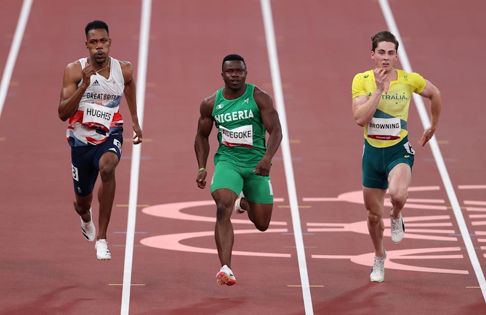 Pictured here, Australia's Rohan Browning running in the 100m sprint semi-final at the Tokyo Olympics.