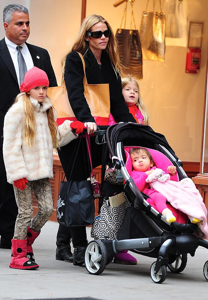 NEW YORK, NY - NOVEMBER 01: (EXCLUSIVE COVERAGE) Denise Richards, Sam Sheen, Eloise Joni Richards and Lola Rose Sheen are seen on Madison Avenue  on November 1, 2012 in New York City. (Photo by Alo Ceballos/FilmMagic)