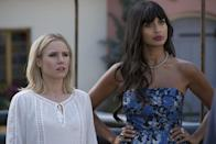 """<p>This forkin' good comedy has a high concept - what happens when you're accidentally sent to the """"good place"""" after you die - and one beautifully flawed center in the form of <a class=""""link rapid-noclick-resp"""" href=""""https://www.popsugar.co.uk/Kristen-Bell"""" rel=""""nofollow noopener"""" target=""""_blank"""" data-ylk=""""slk:Kristen Bell"""">Kristen Bell</a>'s Eleanor. Eleanor is a selfish, shrimp-gobbling woman who lived every day of her life for herself and no one else. By all accounts, she shouldn't be in The Good Place, but that's where the show gets really interesting as Eleanor slowly begins to challenge the notion that people can be placed in such restrictive categories at all. </p> <p>Watch <a href=""""https://www.netflix.com/title/80113701"""" class=""""link rapid-noclick-resp"""" rel=""""nofollow noopener"""" target=""""_blank"""" data-ylk=""""slk:The Good Place""""><strong>The Good Place</strong></a> on Netflix now.</p>"""