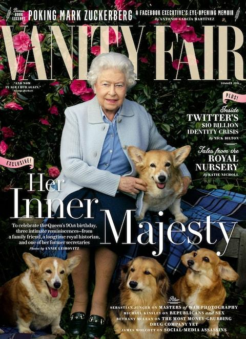 The Queen on the cover of Vanity Fair with her Corgis to commemorate her 90th birthday  - Credit: Vanity Fair