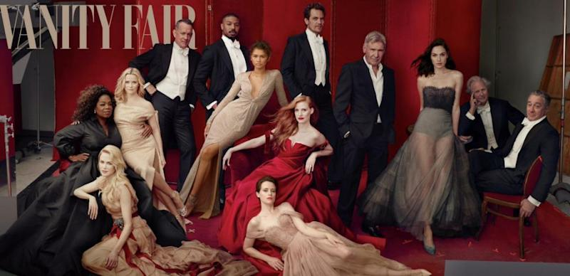 James Franco was photoshopped out of the Vanity Fair cover for their recent Hollywood issue. Source: Annie Lebovtiz / Vanity Fair