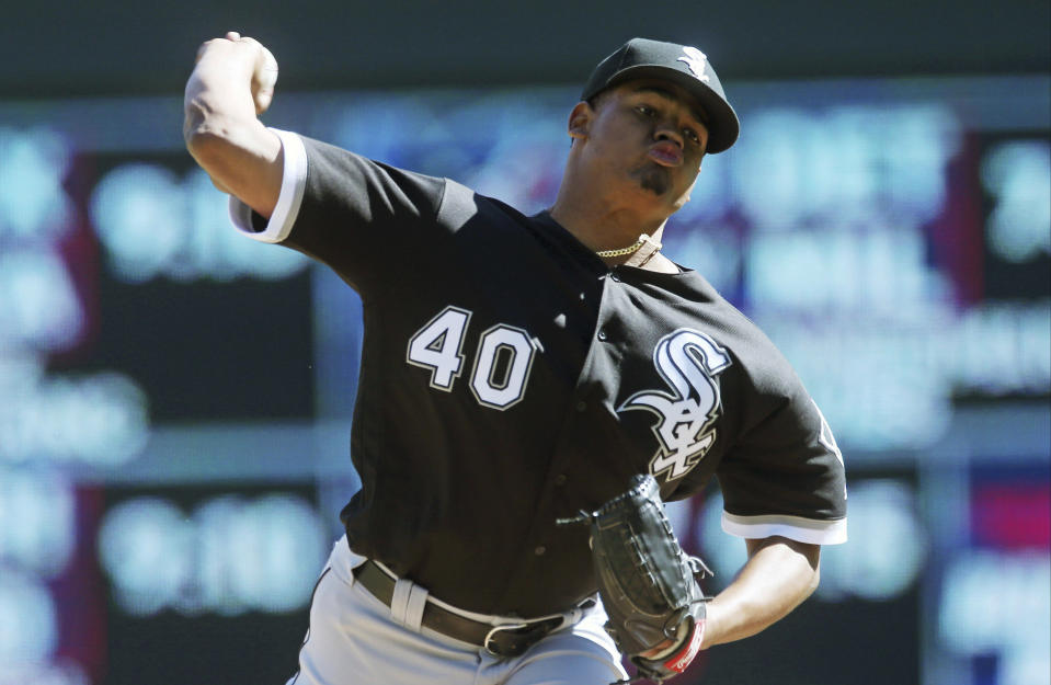 Chicago White Sox pitcher Reynaldo Lopez throws against the Minnesota Twins during the first inning in the first game of a baseball doubleheader Friday, Sept. 28, 2018, in Minneapolis. (AP Photo/Jim Mone)