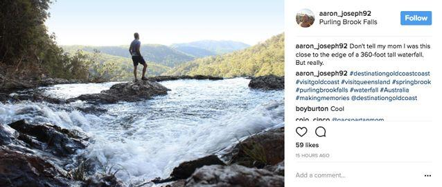 Many people have taken a risk at the waterfall to take a photo. Source: Instagram