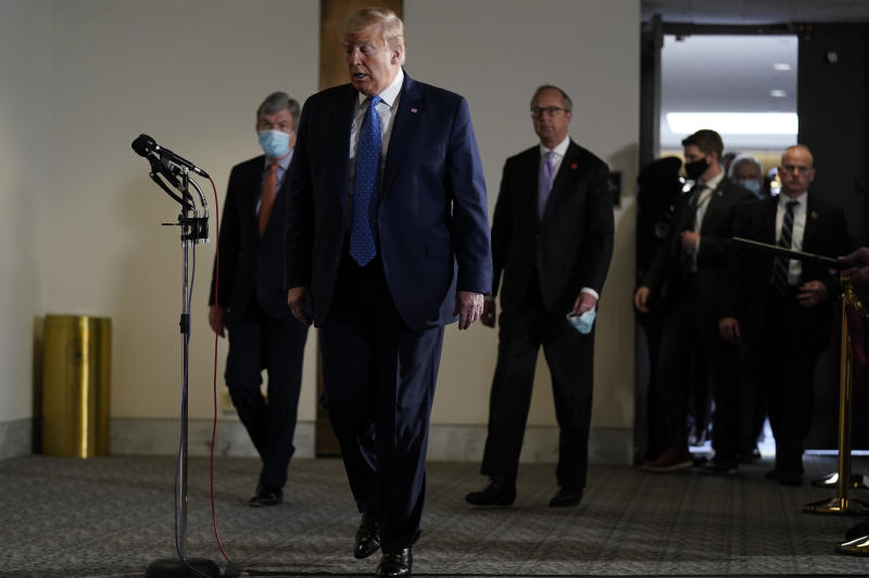 President Donald Trump arrives to speak during a visit to Capitol Hill to meet with Republican lawmakers, Tuesday, May 19, 2020, in Washington. (AP Photo/Evan Vucci)