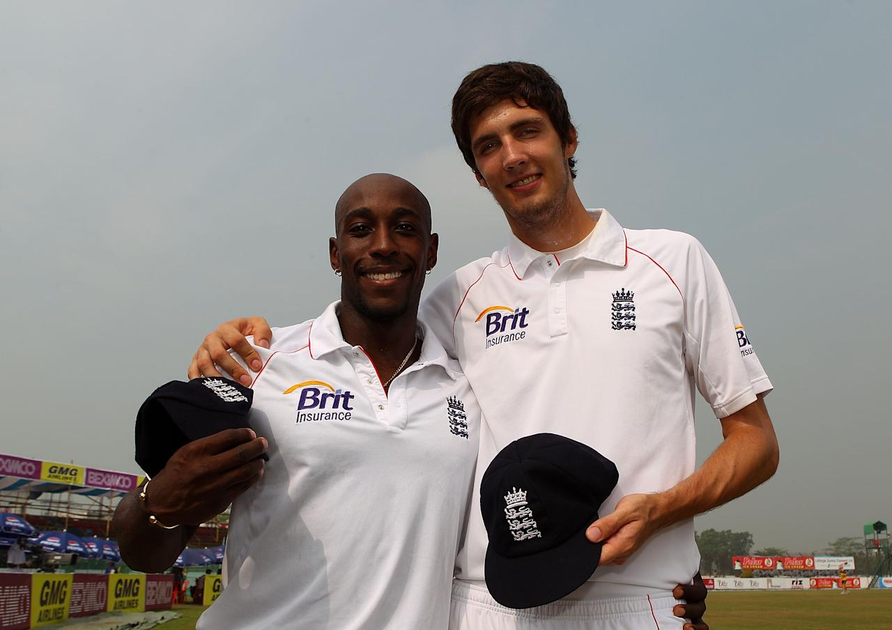 CHITTAGONG, BANGLADESH - MARCH 14:  England test debutants Michael Carberry and Steven Finn hold their new England caps before day three of the 1st Test match between Bangladesh and England at Jahur Ahmed Chowdhury Stadium on March 14, 2010 in Chittagong, Bangladesh.  (Photo by Stu Forster/Getty Images)