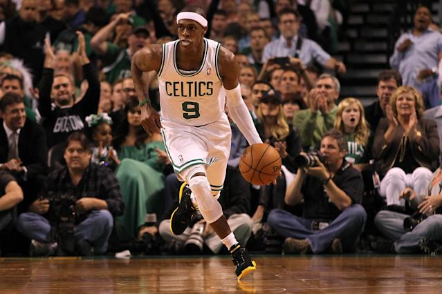 BOSTON, MA - JUNE 07: Rajon Rondo #9 of the Boston Celtics brings the ball up court against the Miami Heat in Game Six of the Eastern Conference Finals in the 2012 NBA Playoffs on June 7, 2012 at TD Garden in Boston, Massachusetts. NOTE TO USER: User expressly acknowledges and agrees that, by downloading and or using this photograph, User is consenting to the terms and conditions of the Getty Images License Agreement. (Photo by Jim Rogash/Getty Images)