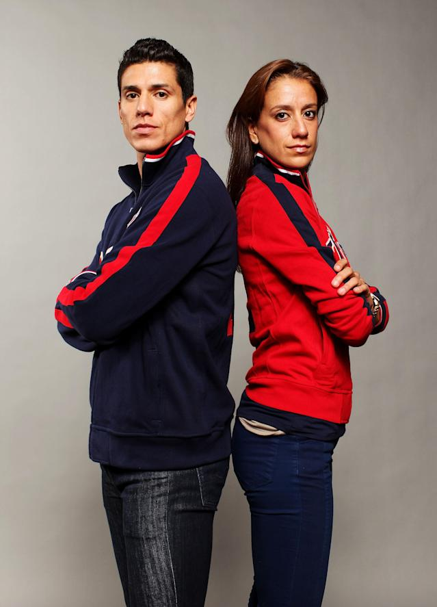 DALLAS, TX - MAY 13: Taekwondo athletes and brother and sister, Diana Lopez and Steven Lopez pose for a portrait during the 2012 Team USA Media Summit on May 13, 2012 in Dallas, Texas. (Photo by Nick Laham/Getty Images)