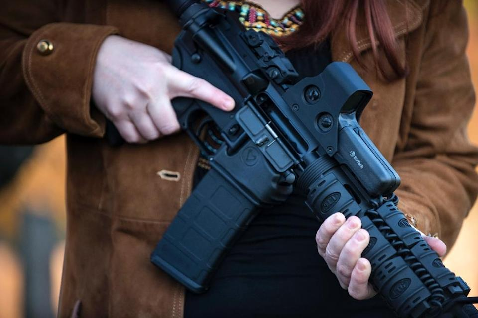 The US Supreme Court on Monday left in place one state's ban on weapons like this semiautomatic AR-15 rifle, similar to the arms used in the recent mass shootings in Nevada and Texas (AFP Photo/BRENDAN SMIALOWSKI)