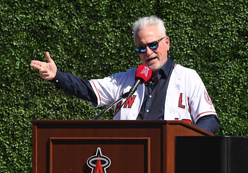 New Angels manager Joe Maddon couldn't help but needle the Cubs during his introductory press conference. (Photo by John Cordes/Icon Sportswire via Getty Images)