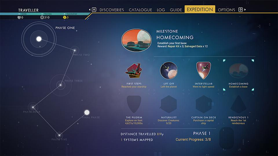 Expedition planner in No Man's Sky