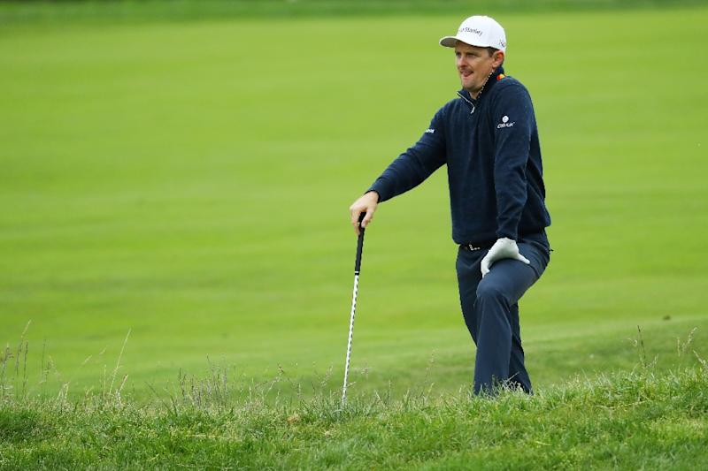 England's Justin Rose reacts to a shot on the 15th hole during the final round of the 2019 US Open at Pebble Beach