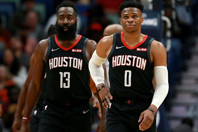 Has James Harden's excellence turned Russell Westbrook into a role player? (Sean Gardner/Getty Images)