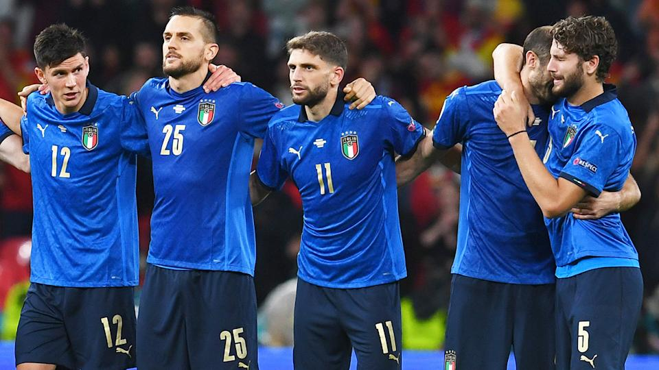 Italy players, pictured here during their Euro 2020 semi-final against Spain.