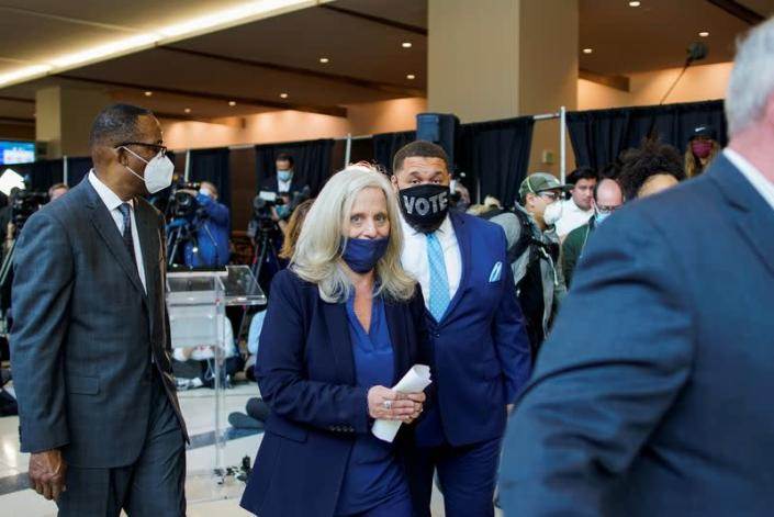 FILE PHOTO: City Commissioner Deeley leaves after a news conference on vote counting in November 2020 in Philadelphia