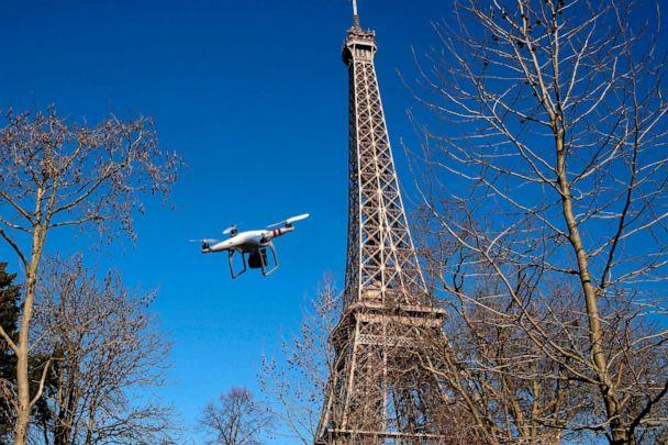 PHOTO: This file photo taken on Feb. 27, 2015, shows an inoperative drone near the Eiffel Tower in Paris, France. (Dominique Faget/AFP via Getty Images)