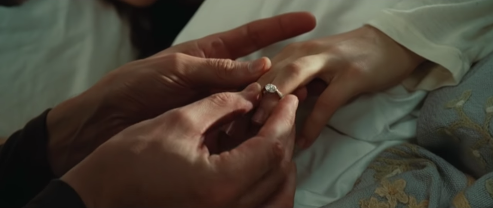 <p>Waking up with a diamond ring on your finger? Not exactly a bad morning. In a proposal that was both sweet and simple, Henry DeTamble asks Clare to marry him<em>, </em>despite the obvious obstacles to their relationship—a.k.a. he time travels. </p>
