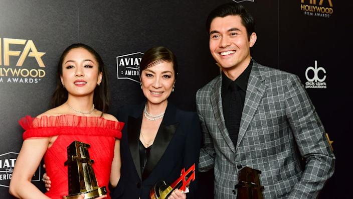 L-R) Constance Wu, Michelle Yeoh, and Henry Golding, recipients of the Hollywood Breakout Ensemble Award for 'Crazy Rich Asians, 2018