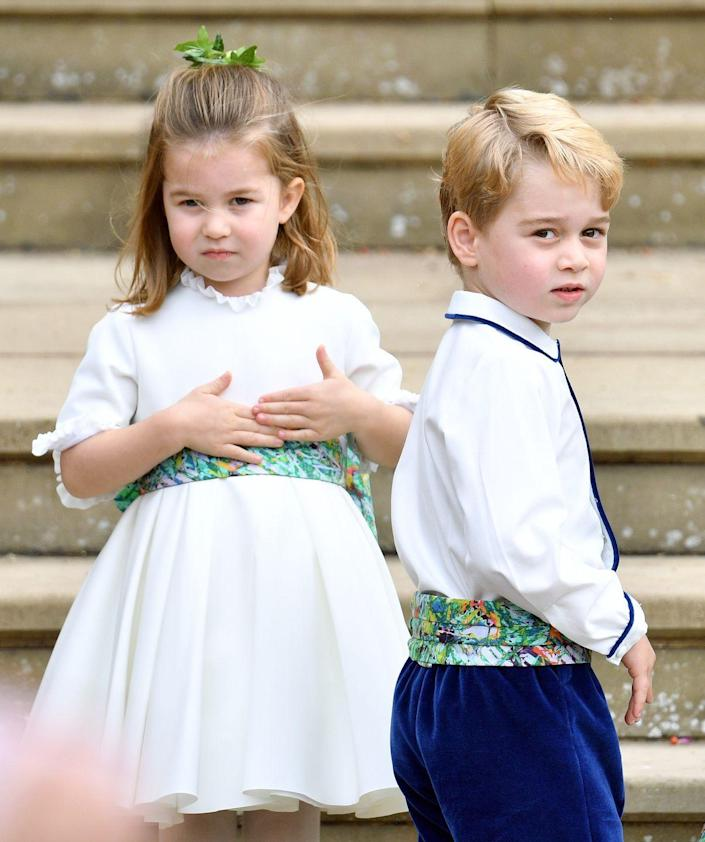"""<p>Prince George is back on his page boy duties! George and Charlotte were tapped by their cousin <a href=""""https://www.townandcountrymag.com/society/tradition/g23552724/prince-george-princess-charlotte-princess-eugenie-jack-brooksbank-wedding-photos/"""" rel=""""nofollow noopener"""" target=""""_blank"""" data-ylk=""""slk:Princess Eugenie to serve"""" class=""""link rapid-noclick-resp"""">Princess Eugenie to serve</a> in the bridal party for her royal wedding in October 2018. </p>"""