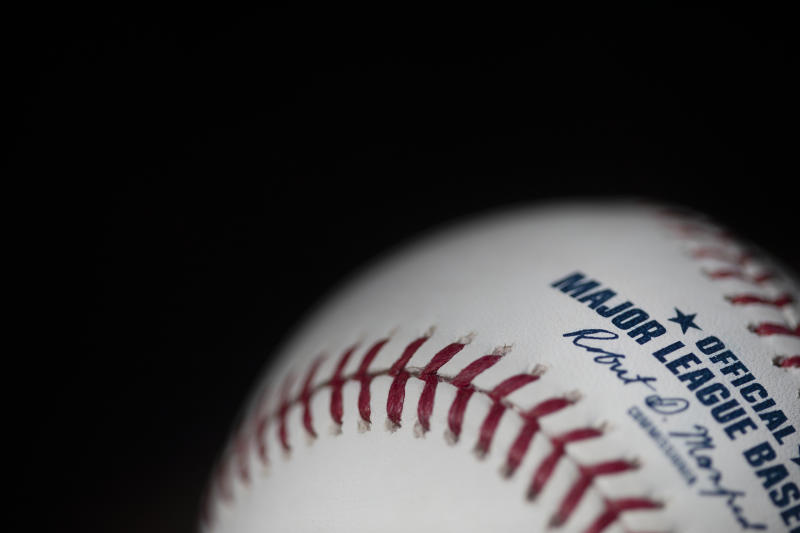 MAY 19: An official Rawlings Major League Baseball for the 2020 Major League Baseball season showing the red stitching and markings and the signature of MLB commissioner Rob Manfred on the19th May 2020 (Photo by Tim Clayton/Corbis via Getty Images)