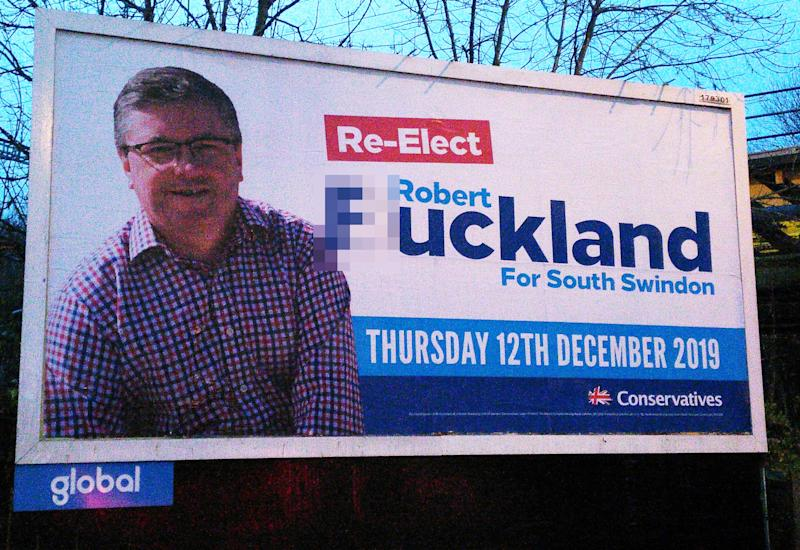 Robert Buckland's billboard has been vandalised. (@in_swindon / Twitter)