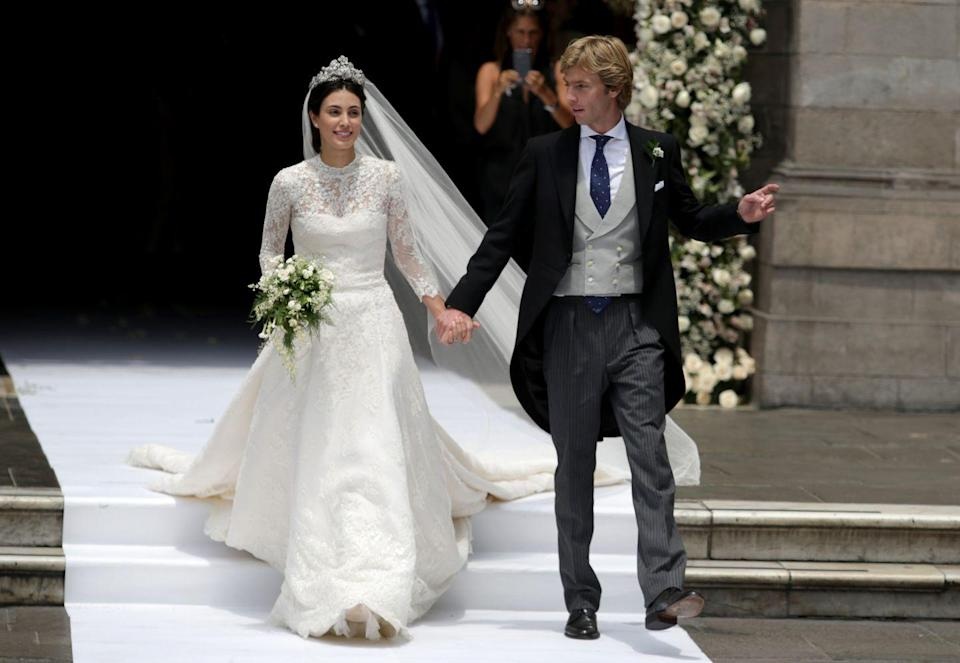 <p>Alessandra de Osma married Prince Christian of Hanover in a high-neck lace gown by Jorge Vazquéz in Lima, Peru. </p>