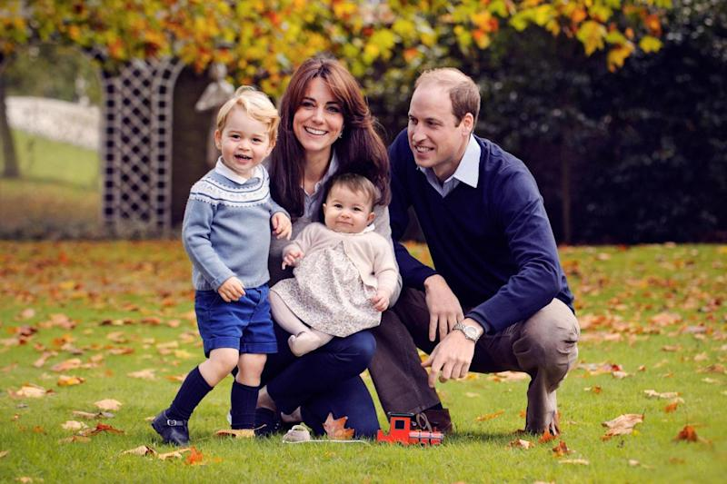 The Duke and Duchess of Cambridge with their two children, Prince George and Princess Charlotte, in a photograph taken late October 2015 at Kensington Palace (PA)