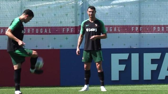 "Portugal ""100% focused"" as they train at their base camp in Kratovo, just outside Moscow, ahead of their final group match against Iran on 25 June."