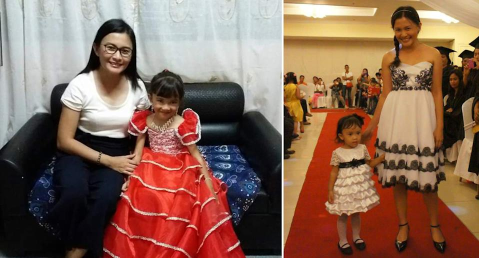 Valerie and her daughter, who is wearing her custom-made designs.