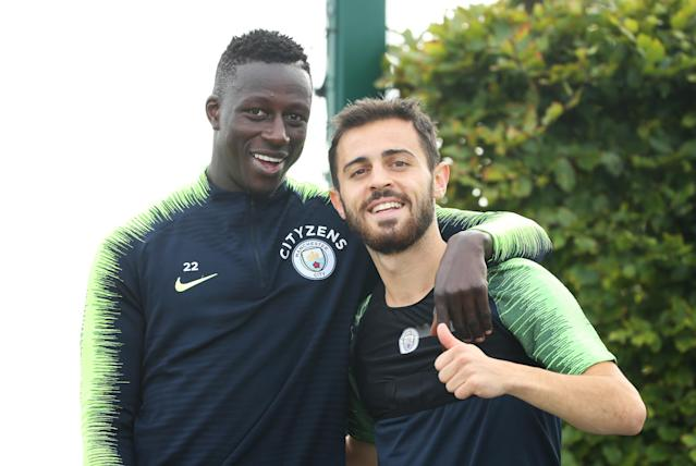 Mendy and Silva during training (Credit: Getty Images)