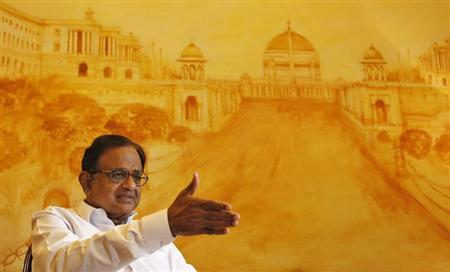Finance Minister Palaniappan Chidambaram speaks during an interview with Reuters in New Delhi October 7, 2013. REUTERS/Anindito Mukherjee