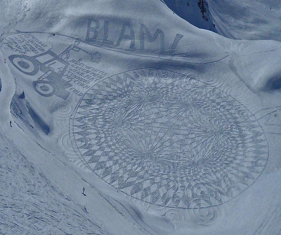 "Snow art crop circles by Simon Beck<br>View more of Beck's art on his Facebook page, <a target=""_blank"" href=""https://www.facebook.com/snowart8848"">Simon Beck's Snow Art</a>"