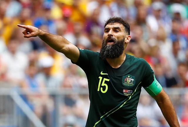 Soccer Football - World Cup - Group C - Denmark vs Australia - Samara Arena, Samara, Russia - June 21, 2018 Australia's Mile Jedinak gestures REUTERS/Michael Dalder